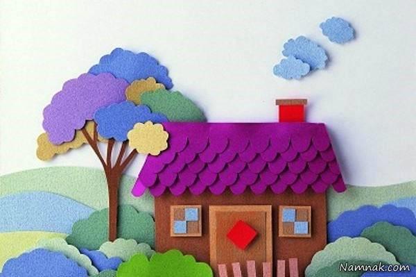 خونه روستا کاردستی با کاغذ رنگی