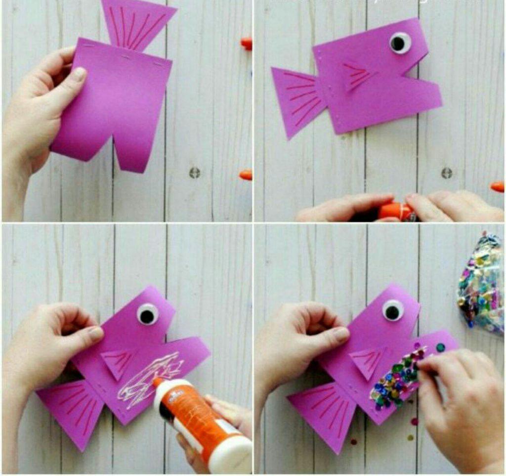مراحل ساخت ماهی کاغذی دو